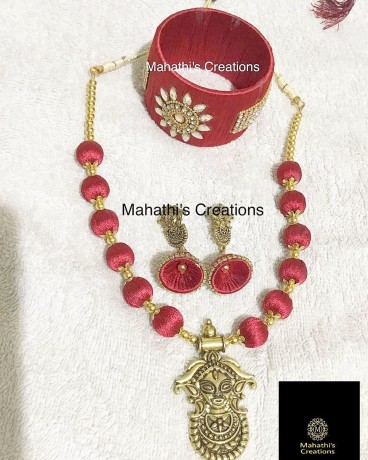 handmade-silk-thread-maa-durga-set-with-kada-bangle-big-0