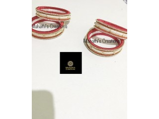 Handmade silk thread  bangles white and red combo