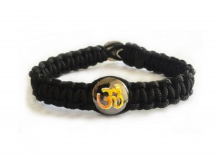 Gents Om Bracelet With Gold On Silver Base